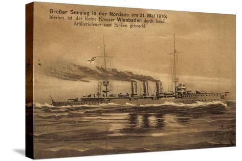 Nordsee, 31.Mai.1916, Kreuzer Wiesbaden, Versunken--Stretched Canvas Print