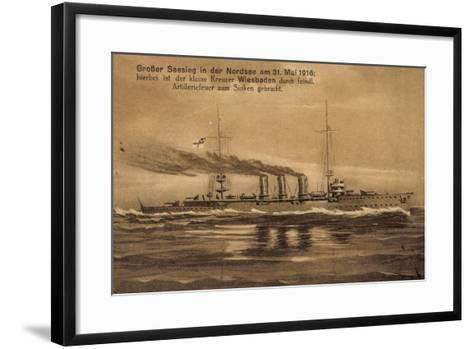 Nordsee, 31.Mai.1916, Kreuzer Wiesbaden, Versunken--Framed Art Print