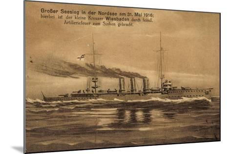 Nordsee, 31.Mai.1916, Kreuzer Wiesbaden, Versunken--Mounted Giclee Print