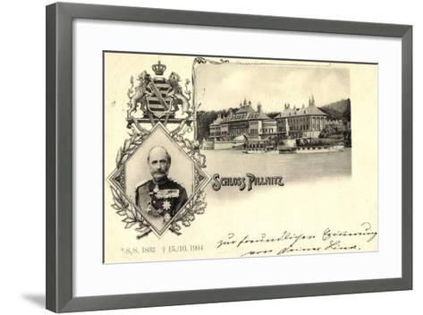 Passepartout K?nig Friedrich August, Schloss Pillnitz--Framed Art Print
