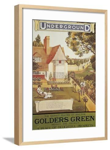 Underground Golders Green London Public Transport, Color Engraving, 1900S--Framed Art Print