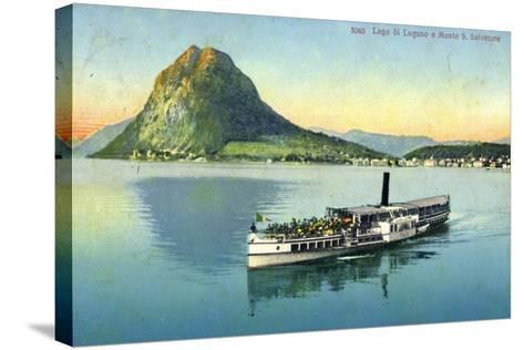 Lago Di Lugano, Monte S. Salvatore, Dampfboot--Stretched Canvas Print
