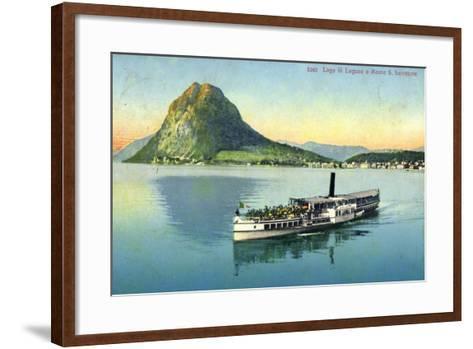 Lago Di Lugano, Monte S. Salvatore, Dampfboot--Framed Art Print