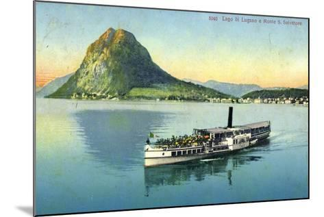 Lago Di Lugano, Monte S. Salvatore, Dampfboot--Mounted Giclee Print
