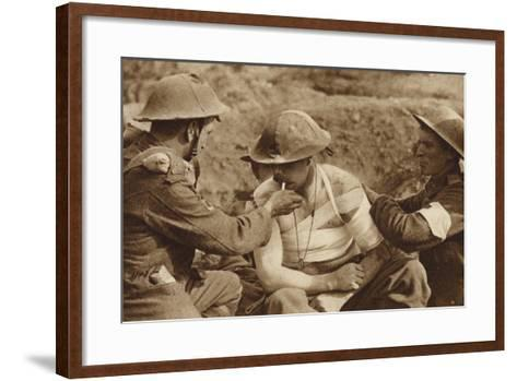 Wounded But Not Too Ill for a Smoke, World War I--Framed Art Print