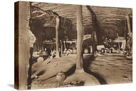 Postcard Depicting the Interior of a Native Hut--Stretched Canvas Print