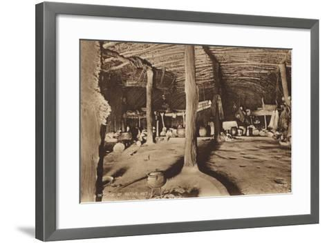 Postcard Depicting the Interior of a Native Hut--Framed Art Print