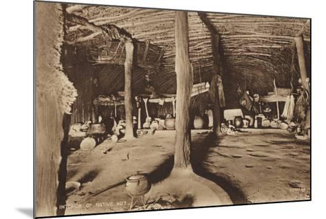 Postcard Depicting the Interior of a Native Hut--Mounted Photographic Print