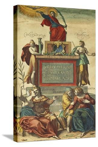 Frontispiece of Volume IV Depicting Allegorical Figures from Civitates Orbis Terrarum--Stretched Canvas Print