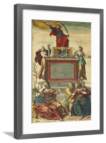 Frontispiece of Volume IV Depicting Allegorical Figures from Civitates Orbis Terrarum--Framed Art Print