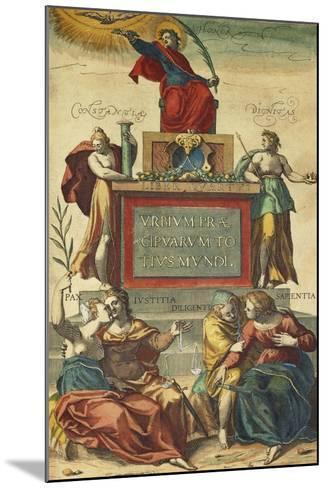 Frontispiece of Volume IV Depicting Allegorical Figures from Civitates Orbis Terrarum--Mounted Giclee Print