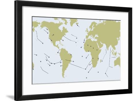 Terrestrial Hot Spots of Earth Map--Framed Art Print