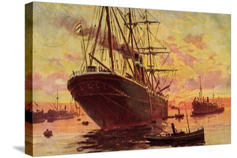 Dampfschiffe Im Hafen, Schleppboote, Dämmerung--Stretched Canvas Print