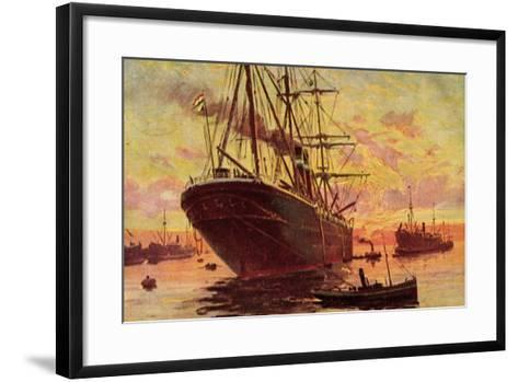Dampfschiffe Im Hafen, Schleppboote, Dämmerung--Framed Art Print