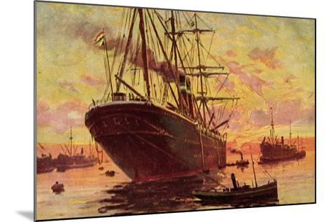 Dampfschiffe Im Hafen, Schleppboote, Dämmerung--Mounted Giclee Print