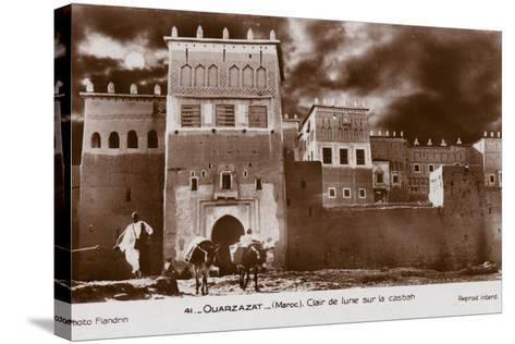 Ouarzazate - Morocco - Moonlight on the Kasbah--Stretched Canvas Print