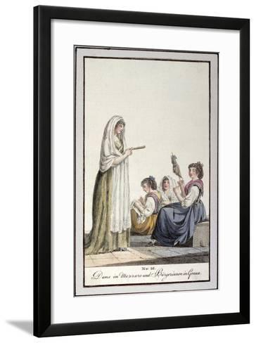 Ladies Wearing Mezzaro Shawl and Genoese Women, Ca 1815--Framed Art Print