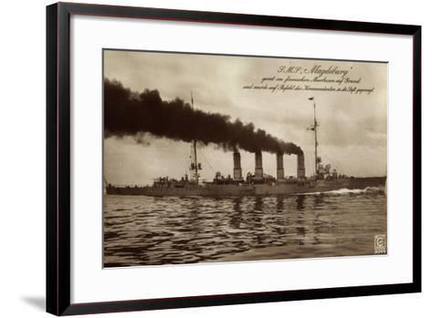 Deutsches Kriegsschiff S.M.S. Magdeburg in Fahrt--Framed Art Print