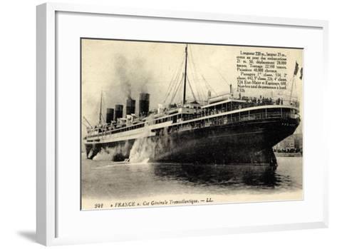 French Line, Cgt, Dampfschiff France, Rauch--Framed Art Print