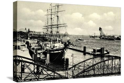 Hamburg, Hafen, Angelegtes Segelschiff Seute Deern--Stretched Canvas Print