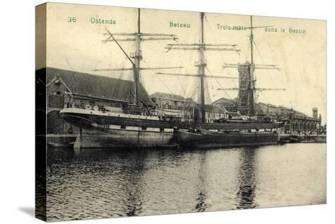 Ostende Westflandern, Segelschiff, 3 Master, Bassin--Stretched Canvas Print