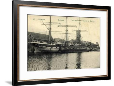 Ostende Westflandern, Segelschiff, 3 Master, Bassin--Framed Art Print