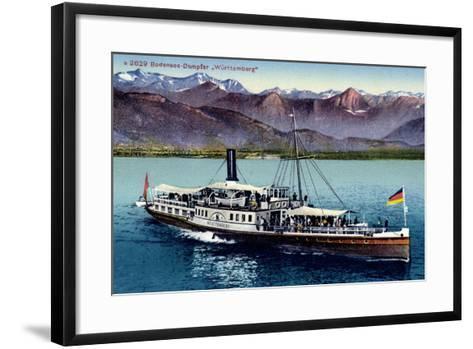 Bodensee, Dampfer W?rttemberg in Fahrt, Gebirge--Framed Art Print