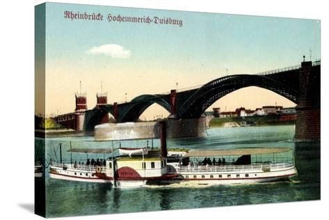 Hochemmerich Duisburg, Rheinbrücke Und Dampfer--Stretched Canvas Print