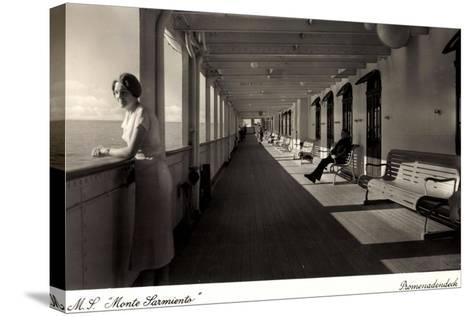 Kdf Dampfer Monte Sarmiento, Frau Auf Promenadendeck--Stretched Canvas Print