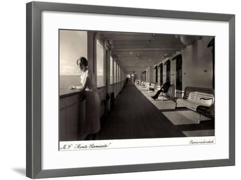 Kdf Dampfer Monte Sarmiento, Frau Auf Promenadendeck--Framed Art Print
