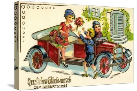 Pr?ge Gl?ckwunsch Geburtstag, Auto, Kind, Blumen--Stretched Canvas Print