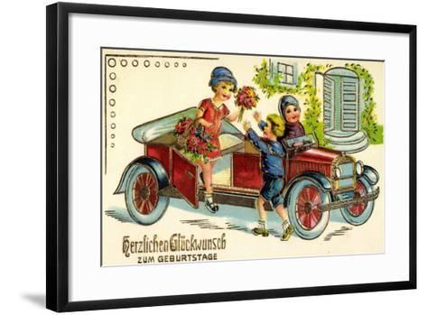 Pr?ge Gl?ckwunsch Geburtstag, Auto, Kind, Blumen--Framed Art Print