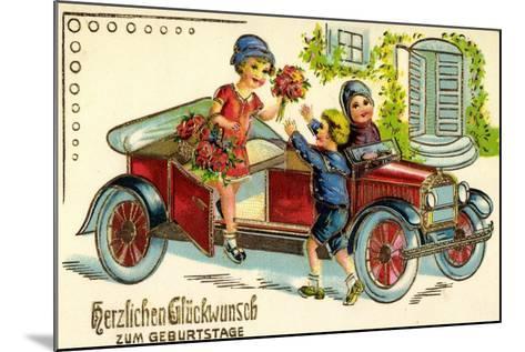 Pr?ge Gl?ckwunsch Geburtstag, Auto, Kind, Blumen--Mounted Giclee Print