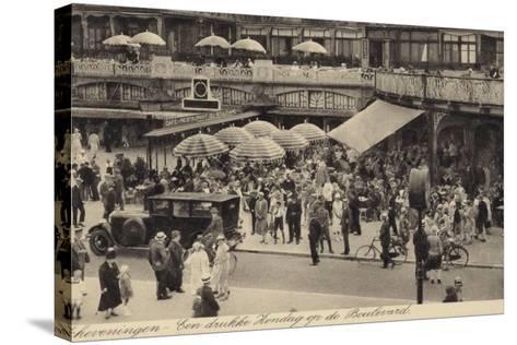 Postcard Depicting a Busy Restaurant in Scheveningen--Stretched Canvas Print