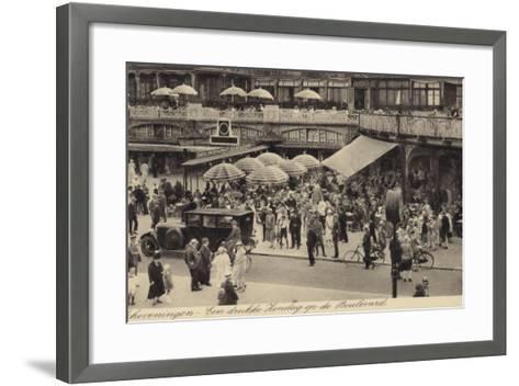 Postcard Depicting a Busy Restaurant in Scheveningen--Framed Art Print