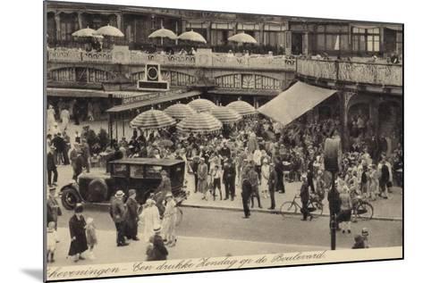 Postcard Depicting a Busy Restaurant in Scheveningen--Mounted Photographic Print