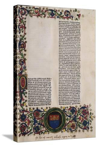 Illuminated Page from a Manuscript Preserved in St Scholastica Library in Subiaco, Lazio, Italy--Stretched Canvas Print