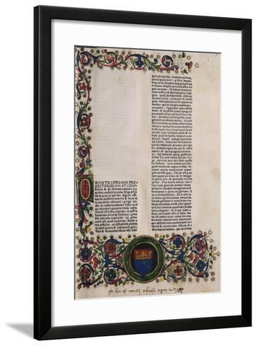 Illuminated Page from a Manuscript Preserved in St Scholastica Library in Subiaco, Lazio, Italy--Framed Art Print