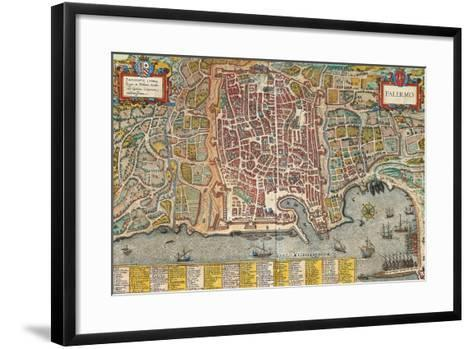 Map of Palermo from Civitates Orbis Terrarum--Framed Art Print
