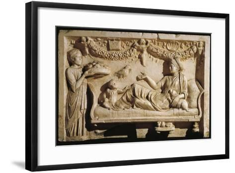 Relief Portraying Woman and Child at Feast, Servant Bringing Plate Laden with Food--Framed Art Print