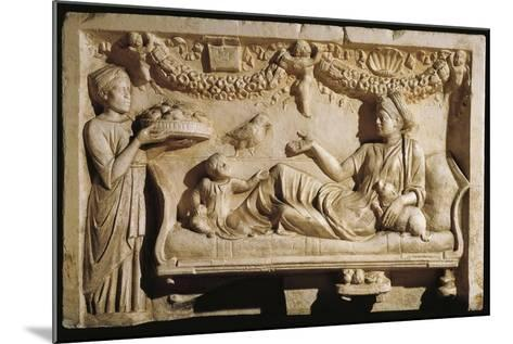 Relief Portraying Woman and Child at Feast, Servant Bringing Plate Laden with Food--Mounted Giclee Print