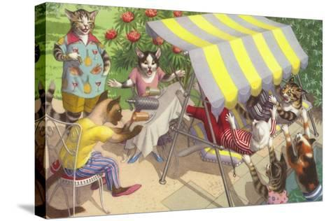 Cats Falling Off a Swing Bench--Stretched Canvas Print