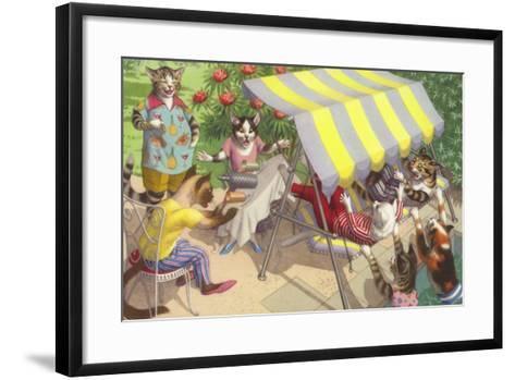 Cats Falling Off a Swing Bench--Framed Art Print