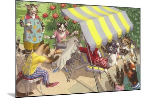 Cats Falling Off a Swing Bench--Mounted Giclee Print