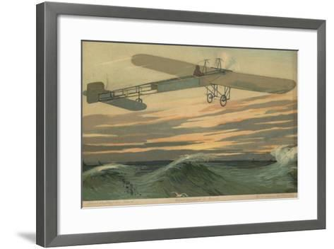 Louis Bleriot Making the First Flight across the English Channel in a Heavier Than Air Aircraft--Framed Art Print