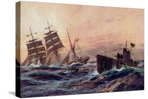 Künstler Stöwer, W., U Boot, Atlantik, Französ. Bark--Stretched Canvas Print