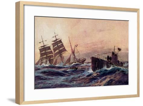 Künstler Stöwer, W., U Boot, Atlantik, Französ. Bark--Framed Art Print