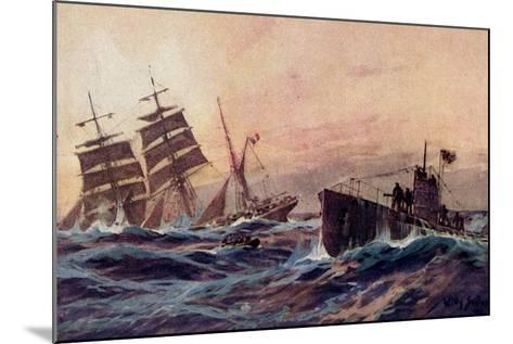 Künstler Stöwer, W., U Boot, Atlantik, Französ. Bark--Mounted Giclee Print