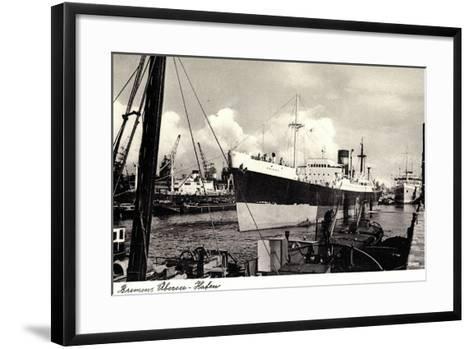 Bremen, Partie Im ?berseehafen, Dampfschiff--Framed Art Print