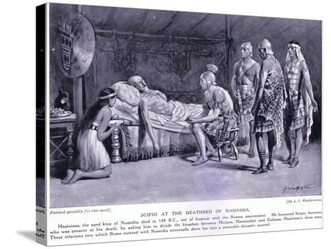Scipio at the Deathbed of Masinissa-A.C. Weatherstone-Stretched Canvas Print